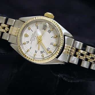 Ladies Rolex Two-Tone 14K/SS Date White Roman 6517 (SKU 5096086MT)