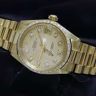 Mid Size Rolex Yellow Gold Date President Diamond 6827 (SKU 3376698MT)