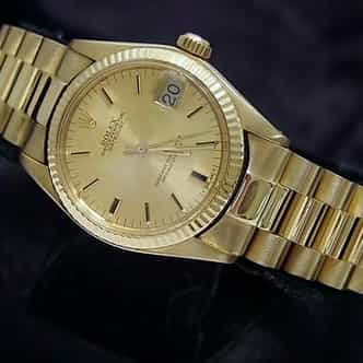 Mid Size Rolex 18K Yellow Gold Datejust President Champagne 6827 (SKU 5957551MT)