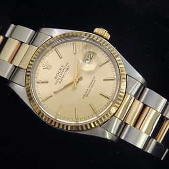 Mens Rolex Two-Tone 18K/SS Datejust Champagne  16013 (SKU 5651111MT)