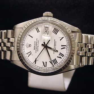 Mens Rolex Stainless Steel Datejust White Roman 1603 (SKU 5691111MT)