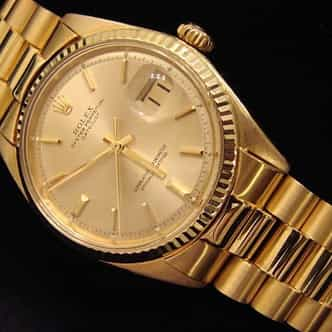 Mens Rolex 18K Yellow Gold Datejust w/Gold Plated Band 1601 (SKU 9821111BCMT)
