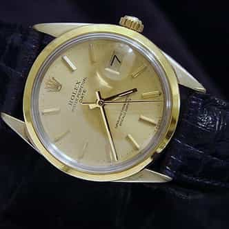 Mens Rolex 14K Gold Shell Date Champagne 1550 (SKU 6098272BMT)