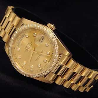 Mens Rolex 18K Gold Day-Date President Champagne Diamond (SKU 8382928AMT)