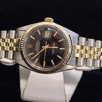Mens Rolex Two-Tone 14K/SS Datejust Black  1601 (SKU 3347771BCMT)