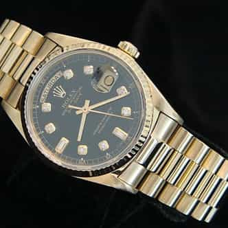 Mens Rolex 18K Gold Day-Date President Black Diamond 18038 (SKU R837381MT)