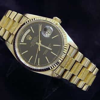 Mens Rolex 18K Gold Day-Date President Black (SKU 5507779MT)