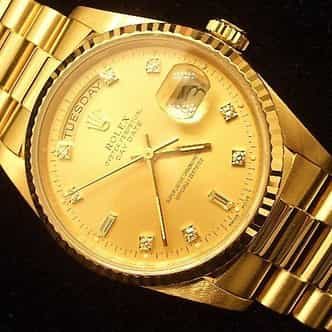 Mens Rolex 18K Gold Day-Date President Champagne Diamond 18238 (SKU 9351111MT)