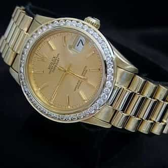 Mid Size Rolex 18K Yellow Gold Datejust President Champagne Diamond 68278 (SKU 9629978AMT)