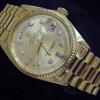 Mens Rolex 18K Gold Day-Date President Champagne Diamond 1803 (SKU 1589221MT)