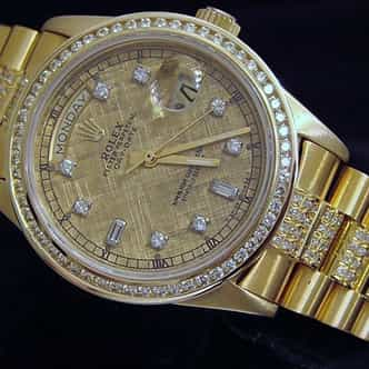 Mens Rolex 18K Gold Day-Date President Full Diamond 18038 (SKU 5477679MT)