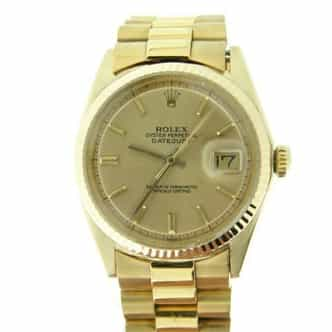 Mens Rolex 18K Yellow Gold Datejust w/Gold Plated Band 1601 (SKU 982A111BCMT)