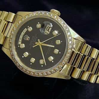 Mens Rolex 18K Gold Day-Date President Black Diamond 18038 (SKU 5806301MT)
