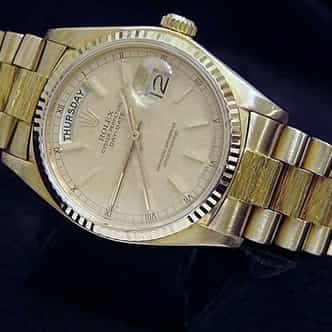 Mens Rolex 18K Gold Day-Date President Linen (SKU 7133054MT)