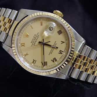 Mens Rolex Two-Tone 18K/SS Datejust Champagne Roman 16233 (SKU DJ151111MT)