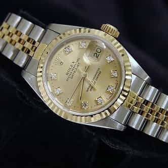 Ladies Rolex Two-Tone 18K/SS Datejust Champagne Diamond 69173 (SKU s183197MT)