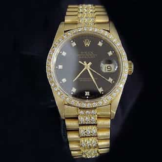 Pre Owned Mens Rolex Yellow Gold Diamond Datejust with a Black Dial 16238 (SKU DJ271111)