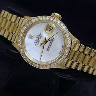 Ladies Rolex 18K Yellow Gold Datejust President White (SKU 6917DJ31MT)