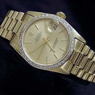 Mid Size Rolex 18K Yellow Gold Datejust President Champagne Diamond 68278 (SKU DJ37MT)