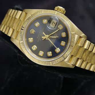 Ladies Rolex 18K Yellow Gold Datejust President Blue Diamond 69278 (SKU 69278DJ51MT)