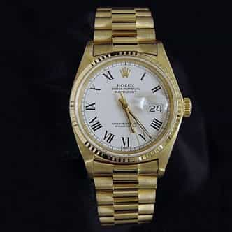 Mens Rolex 18K Yellow Gold Datejust White Roman 16018 (SKU DJ531111DM)