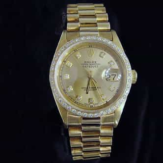 Mens Rolex 18K Yellow Gold Datejust Champagne Diamond 1601 (SKU DJ551111MT)