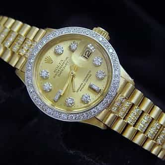 Ladies Rolex 18K Yellow Gold Datejust President Diamond 6917 (SKU 6917DJ67MT)