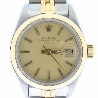 Ladies Rolex Two-Tone 14K/SS Date Champagne  6917 (SKU 7177656AMT)