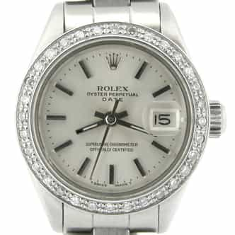 Ladies Rolex Stainless Steel Date Silver Diamond (SKU 5795284NMT)