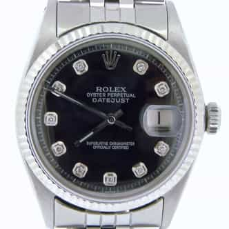 Mens Rolex Stainless Steel Datejust Black Diamond 1601 (SKU 2588826ABCMT)