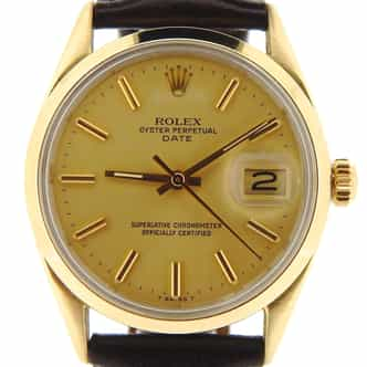 Mens Rolex 14K Gold Shell Date Champagne 1550 (SKU 5997466NBMT)