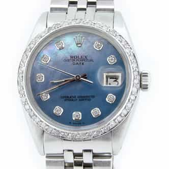 Mens Rolex Stainless Steel Date Blue MOP Diamond (SKU 1462211NMT)