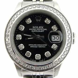 Ladies Rolex Stainless Steel Datejust Black Diamond (SKU 7045517NMT)