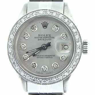 Ladies Rolex Stainless Steel Datejust Silver Diamond (SKU 3465211AMT)
