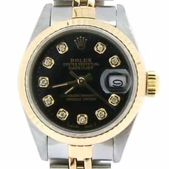 Ladies Rolex Two-Tone 18K/SS Datejust Black Diamond 69173 (SKU 8143752AMT)