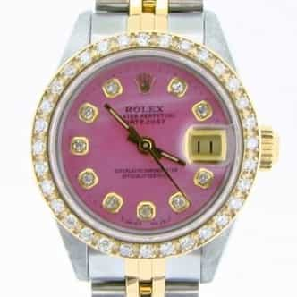 Ladies Rolex Two-Tone 18K/SS Datejust Pink MOP Diamond 69173 (SKU R487645AMT)