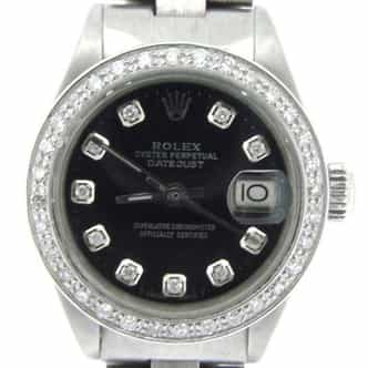 Ladies Rolex Stainless Steel Datejust Black Diamond (SKU 3413023AMT)