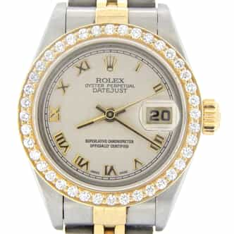 Ladies Rolex Two-Tone 18K/SS Datejust Diamond Ivory Roman 79173 (SKU A297208NMT)