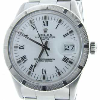 Mens Rolex Stainless Steel Date White Roman 15010 (SKU 7243724AMT)