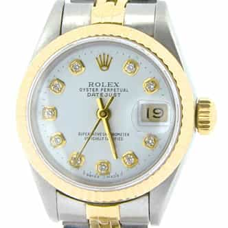 Ladies Rolex Two-Tone 18K/SS Datejust White Diamond 69173 (SKU 8458335NMT)