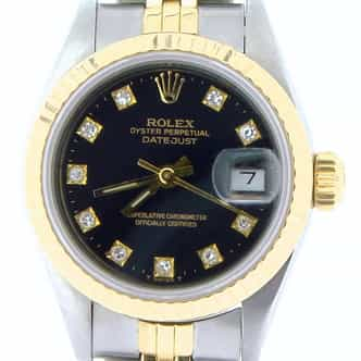 Ladies Rolex Two-Tone 18K/SS Datejust Black Diamond 69173 (SKU 9283674NMT)