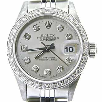 Ladies Rolex Stainless Steel Datejust Silver Diamond (SKU W831535NMT)