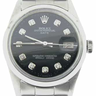 Mens Rolex Stainless Steel Date Black Diamond 15000 (SKU 7192206NMT)