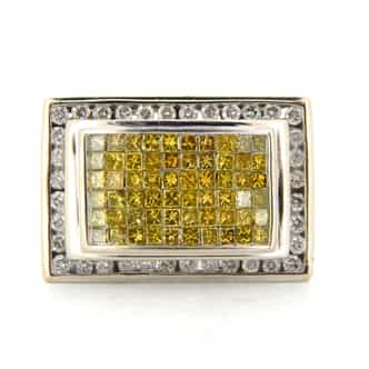 Mens 14k White Gold 2k Canary Diamond Ring Size 13 (SKU MENS02N)