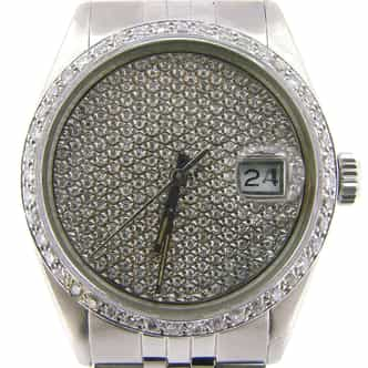 Mens Rolex Stainless Steel Datejust Pave Diamond (SKU 5558290NMT)