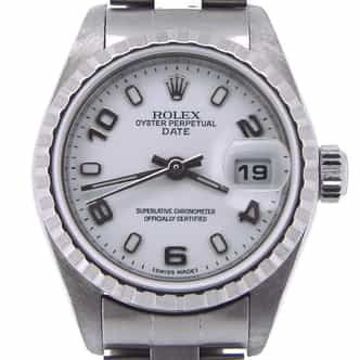 Ladies Rolex Stainless Steel Date White Arabic 79240 (SKU y263216OBNMT)