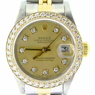 Ladies Rolex Two-Tone 18K/SS Datejust Champagne Diamond 69173 (SKU L305887NMT)