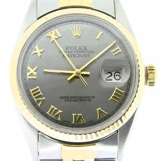 Mens Rolex Two-Tone 18K/SS Datejust Slate Roman 16013 (SKU 6589865NMT)