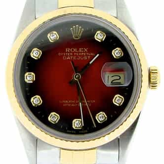 Mens Rolex Two-Tone 18K/SS Datejust Red Diamond 16013 (SKU 9708087NBNNMT)
