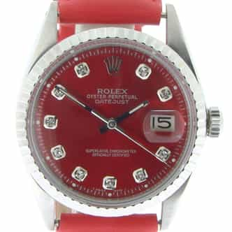 Mens Rolex Stainless Steel Datejust Red Diamond 1603 (SKU 2598378NBMT)